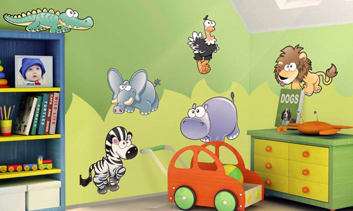 Stickers murali bambini cameretta animali della savana for Decorazioni per camerette